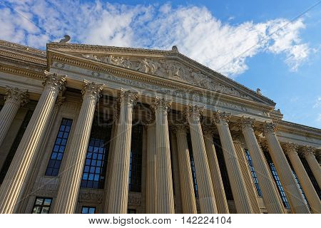 Closeup View At National Archives Building In Washington Dc