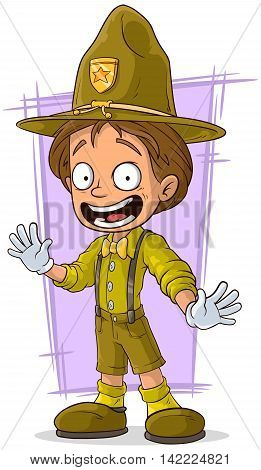 A vector illustration of cartoon smiling young boy-scout