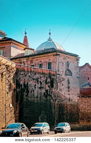 Roman Walls Of Piazza Del Popolo In Rome In Italy