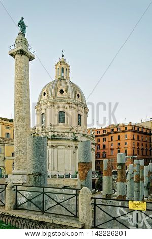 Columns And Church Of Trajan Forum In Rome In Italy