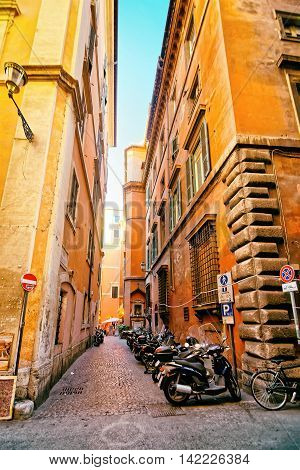 Narrow Street In The Old City In Rome In Italy