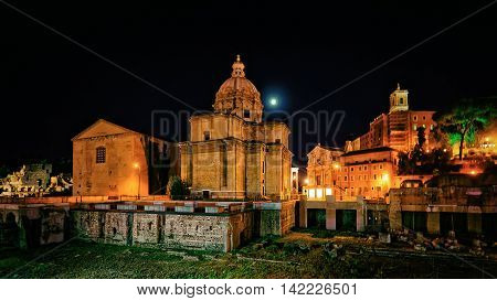 Ruins And Church Of Trajan Forum In Rome In Italy
