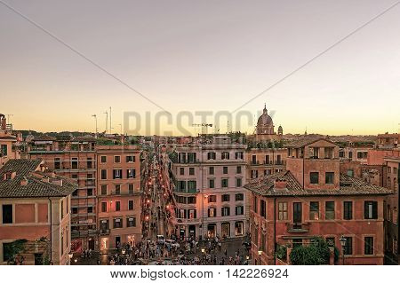 Tourists And Spanish Steps At Square Of Spain In Rome