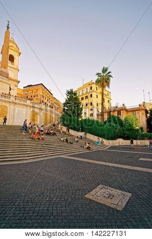 Trinita Dei Monti Church And Egyptian Obelisk At Spanish Steps