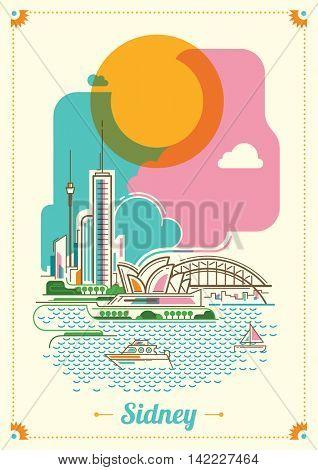 Modern Sidney illustration in color. Vector illustration.
