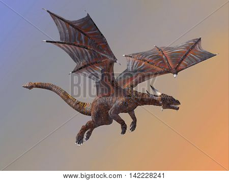 Hell Dragon Flying 3D Illustration - A red hell dragon is a creature of myth and legend and is fire-breathing and has horns and wings.