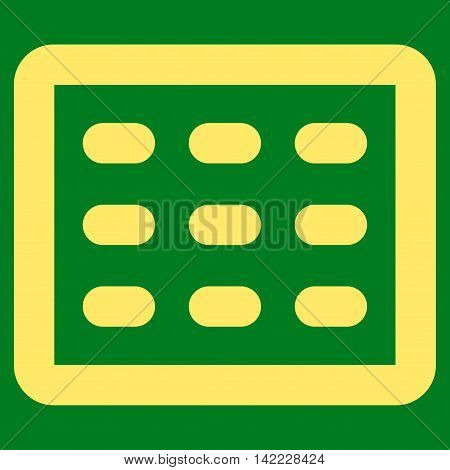 Table Grid vector icon. Style is stroke flat icon symbol, yellow color, green background.