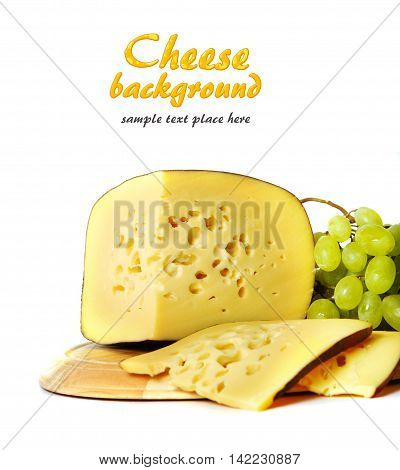 Cheese plate: Parmesan cheddar gouda blue cheese mozzarella. Tasty appetizers. Cheese platter. Cheese board. Cheese slice. Selective focus.