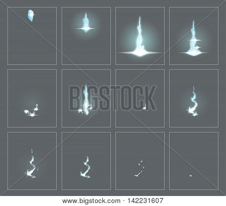 Lightning special effect fx animation frames sprite sheet. Electrical lightning thunderbolt frames for flash animation in games, video and cartoon. poster