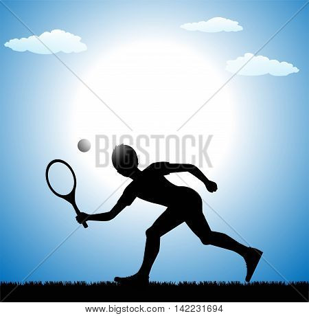 illustration of tennis player on sky background