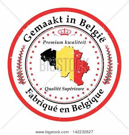 Made in Belgium, Premium Quality (translation of the text form dutch language - up side part of the stamp, and French language - down side of the label) sticker with map of Belgium. Print colors used.