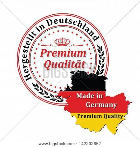 Hergestellt in Deutschland. Premium Qualitat  (text translation: Made in Germany. Premium Quality) - grunge ribbon / stamp  for selling goods, products made in Germany. Print colors used.