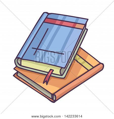 Books And Pics Albums Pile. Pictures album and book with page bookmark Vector Illustration.