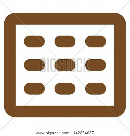Table Grid vector icon. Style is outline flat icon symbol, brown color, white background.