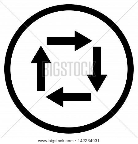 Circulation Arrows vector icon. Style is flat rounded iconic symbol, circulation arrows icon is drawn with black color on a white background.