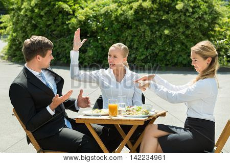Businesspeople Having Argument In Restaurant With Food And Glass Of Juice On Table