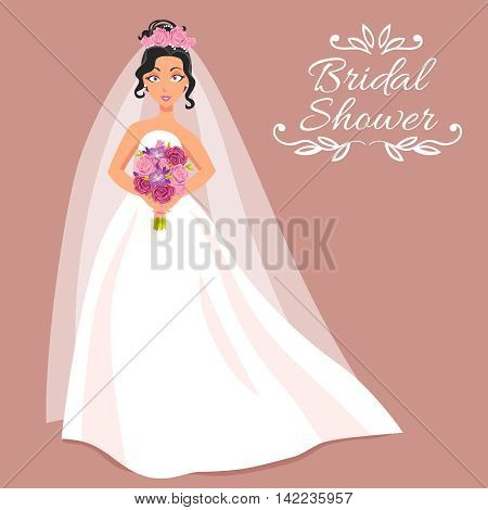 Bridal shower cartoon invitation with beautiful young bride in white dress and veil on rose background holding bouquet of roses  vector illustration