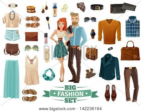 Big male and female fashion clothing shoes cosmetics and accessories set with young man and woman in middle on white background cartoon isolated vector illustration