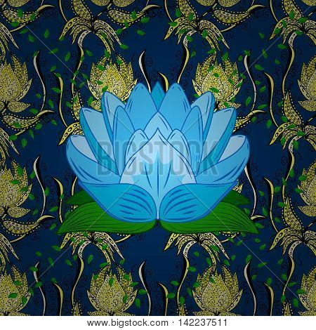Fantasy creative floral pattern on blue background with lotus. Colorful doodle ornament. Vector illustration.