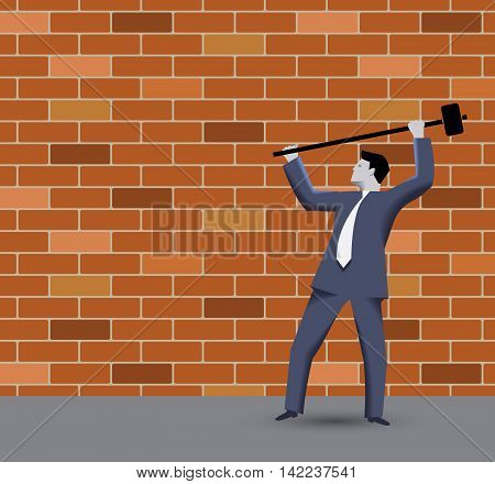 Breaking the rules business concept. Confident businessman in business suit with sledgehammer in grey regulated world trying to break the wall of rules and to find new opportunities and targets