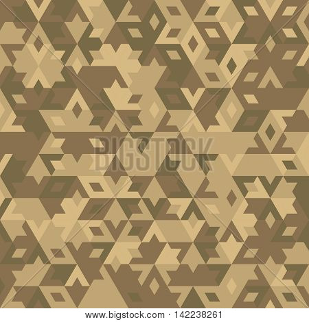 abstract geometric bege desert seamless background with colored triangles for textile, backdrop or banner