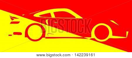 A fast car in abstract design over red and yellow