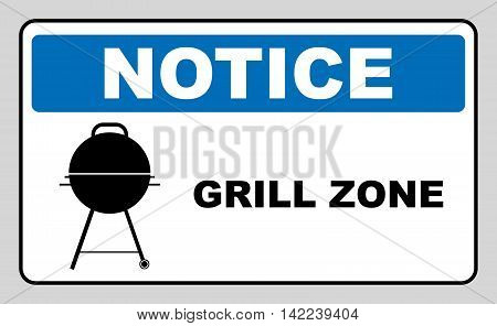 Sign with kettle barbecue and text Grill Zone. Vector notice banner for outdoors, garden, parks.