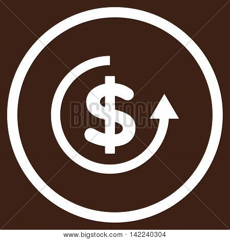 Refund vector icon. Style is flat rounded iconic symbol, refund icon is drawn with white color on a brown background.