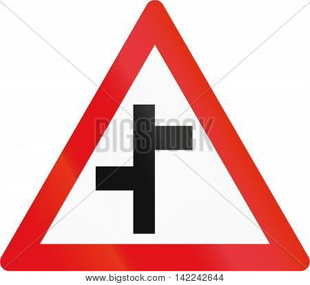 Road Sign Used In The African Country Of Botswana - Staggered Side Road Junctions