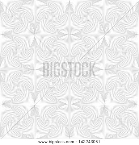 Abstract background with geometric line shapes in Opt Art style. Vector illustration. Seamless white and gray background.