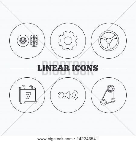 Klaxon signal, tire tread and steering wheel icons. Generator belt linear sign. Flat cogwheel and calendar symbols. Linear icons in circle buttons. Vector