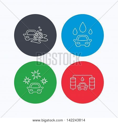 Car wash icons. Automatic cleaning station linear signs. Clean car, automatic carwash flat line icons. Linear icons on colored buttons. Flat web symbols. Vector