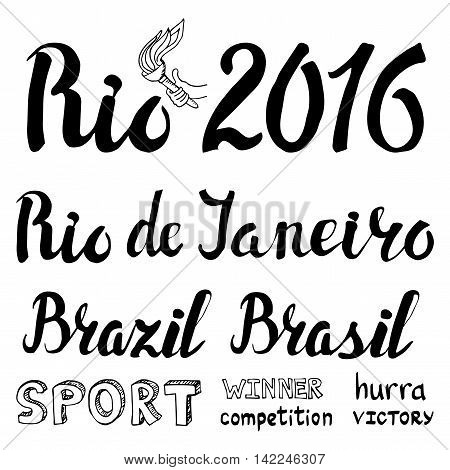 Brasil, Rio sport lettering set.Vector hand writing words.Summer 2016 competition games. Black illustration