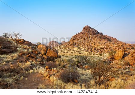 View of Damaraland in Namibia Africa at sunrise