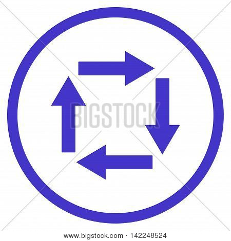 Circulation Arrows vector icon. Style is flat rounded iconic symbol, circulation arrows icon is drawn with violet color on a white background.