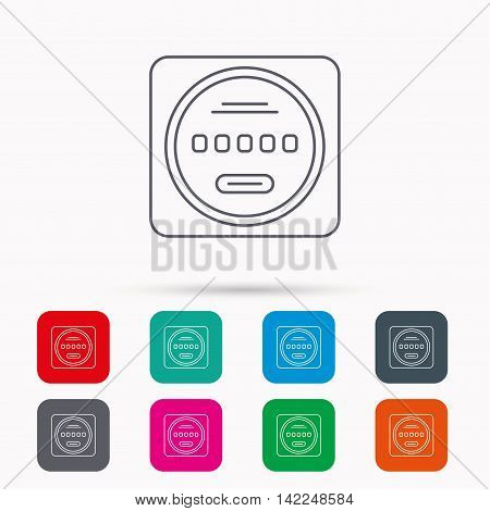 Electricity power counter icon. Measurement sign. Linear icons in squares on white background. Flat web symbols. Vector