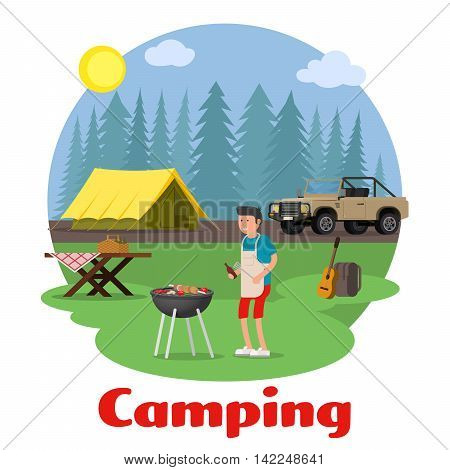 Camping and outdoor recreation concept. Man cooking meat with a grill on a forest glade. Forest camp with a tent and a jeep. Vector illustration.