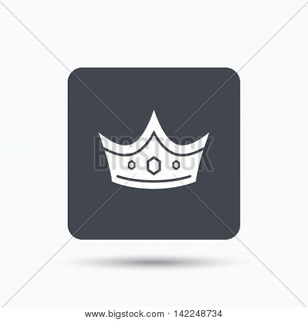 Crown icon. Royal throne leader symbol. Gray square button with flat web icon. Vector