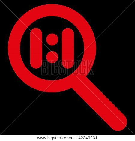 Zoom Actual Scale vector icon. Style is outline flat icon symbol, red color, black background.