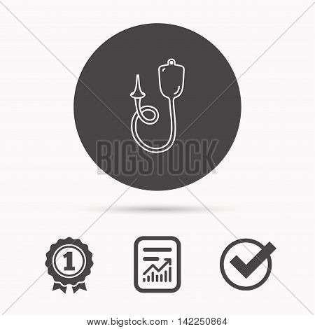 Enema icon. Medical clyster sign. Report document, winner award and tick. Round circle button with icon. Vector