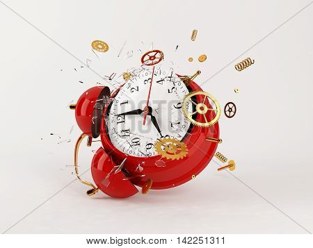 Red clock broken. Alpha mask. 3d model