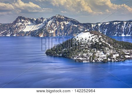 Wizard Island in Crater Lake deepest lake in USA.