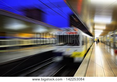 Blurred view of Santander railway station. Spain.