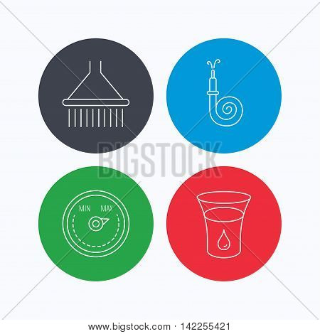 Shower, fire hose and heat regulator icons. Glass of water linear sign. Linear icons on colored buttons. Flat web symbols. Vector