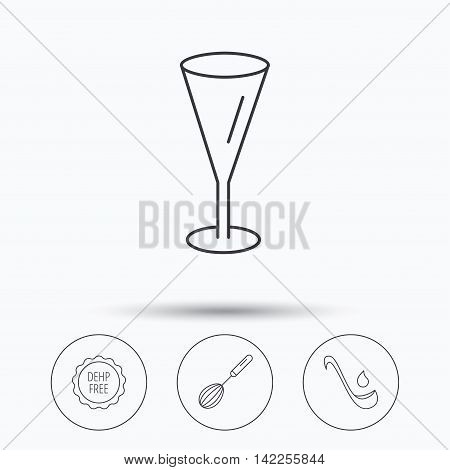 Soup ladle, glass and whisk icons. DEHP free linear sign. Linear icons in circle buttons. Flat web symbols. Vector