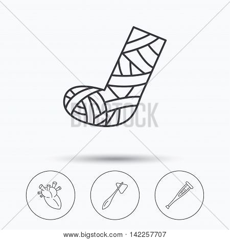 Gypsum, heart and medical hammer icons. Crutch linear sign. Linear icons in circle buttons. Flat web symbols. Vector