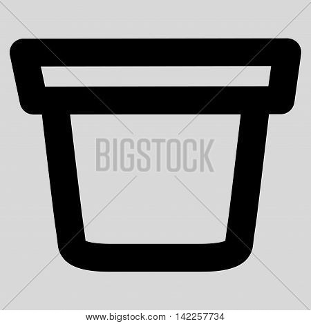 Pail vector icon. Style is linear flat icon symbol, black color, light gray background.