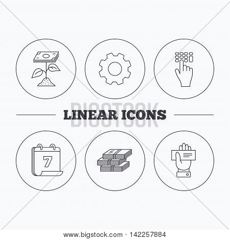 Cash money, cheque and profit icons. Enter code linear sign. Flat cogwheel and calendar symbols. Linear icons in circle buttons. Vector