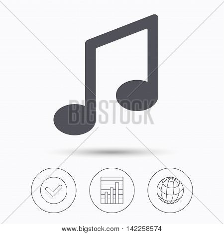 Music icon. Musical note sign. Melody symbol. Check tick, graph chart and internet globe. Linear icons on white background. Vector