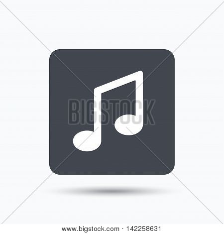 Music icon. Musical note sign. Melody symbol. Gray square button with flat web icon. Vector